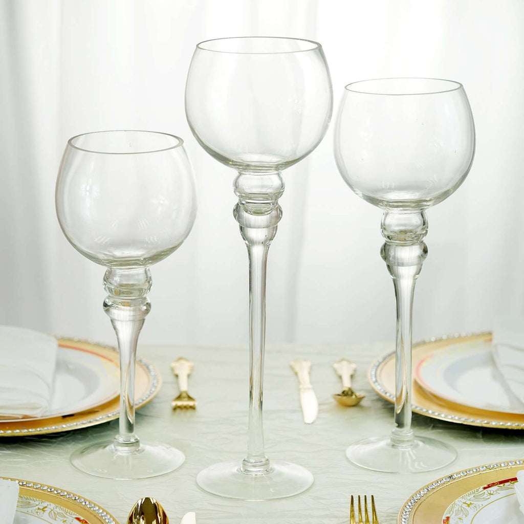 Set of 3 | Clear Long Stem Globe Glass Vase Candle Holders
