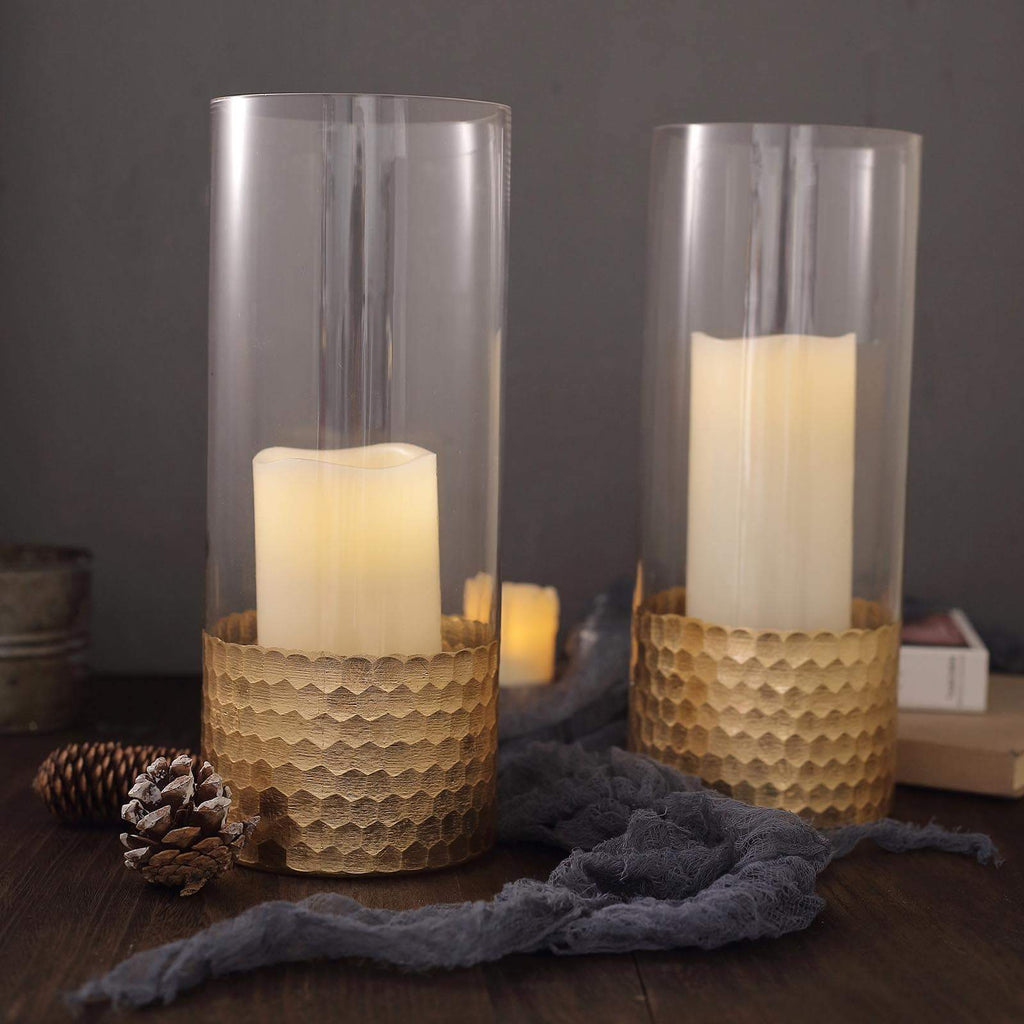 "2 Pack | 12"" Glass Cylinder Vases with Gold Honeycomb Base 