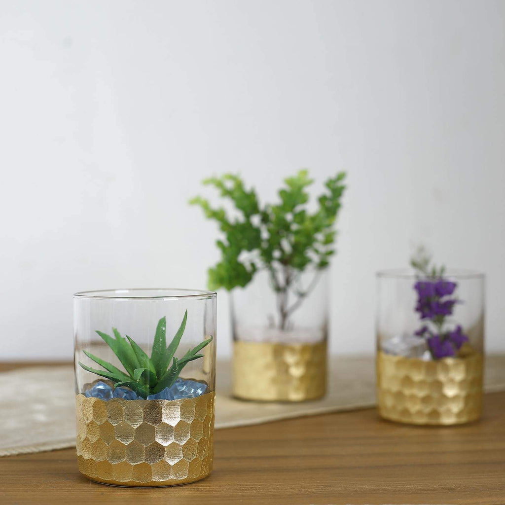 "3 Pack | 4"" Glass Cylinder Vases with Gold Honeycomb Base 
