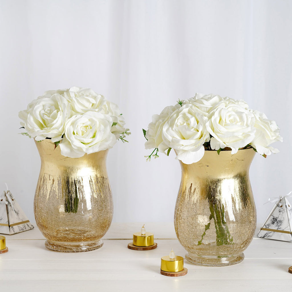 "Pack of 2 | 8"" Gold Crackle Glass Flower Vase 