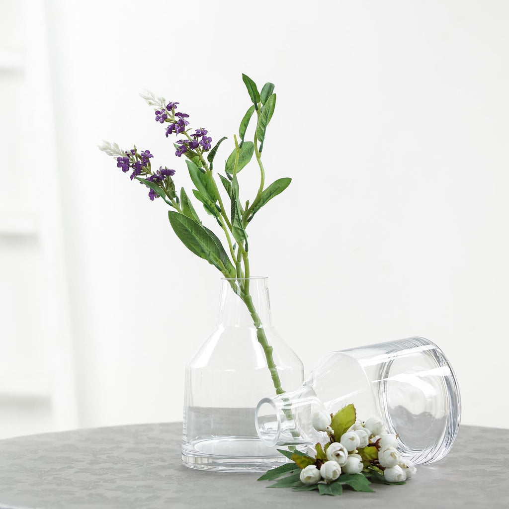 "2 Pack | 8"" Tapered Neck Clear Glass Flower Vase Centerpieces"