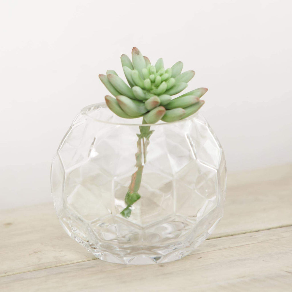 "2 Pack | 4.5"" Clear Honeycomb Glass Vases 