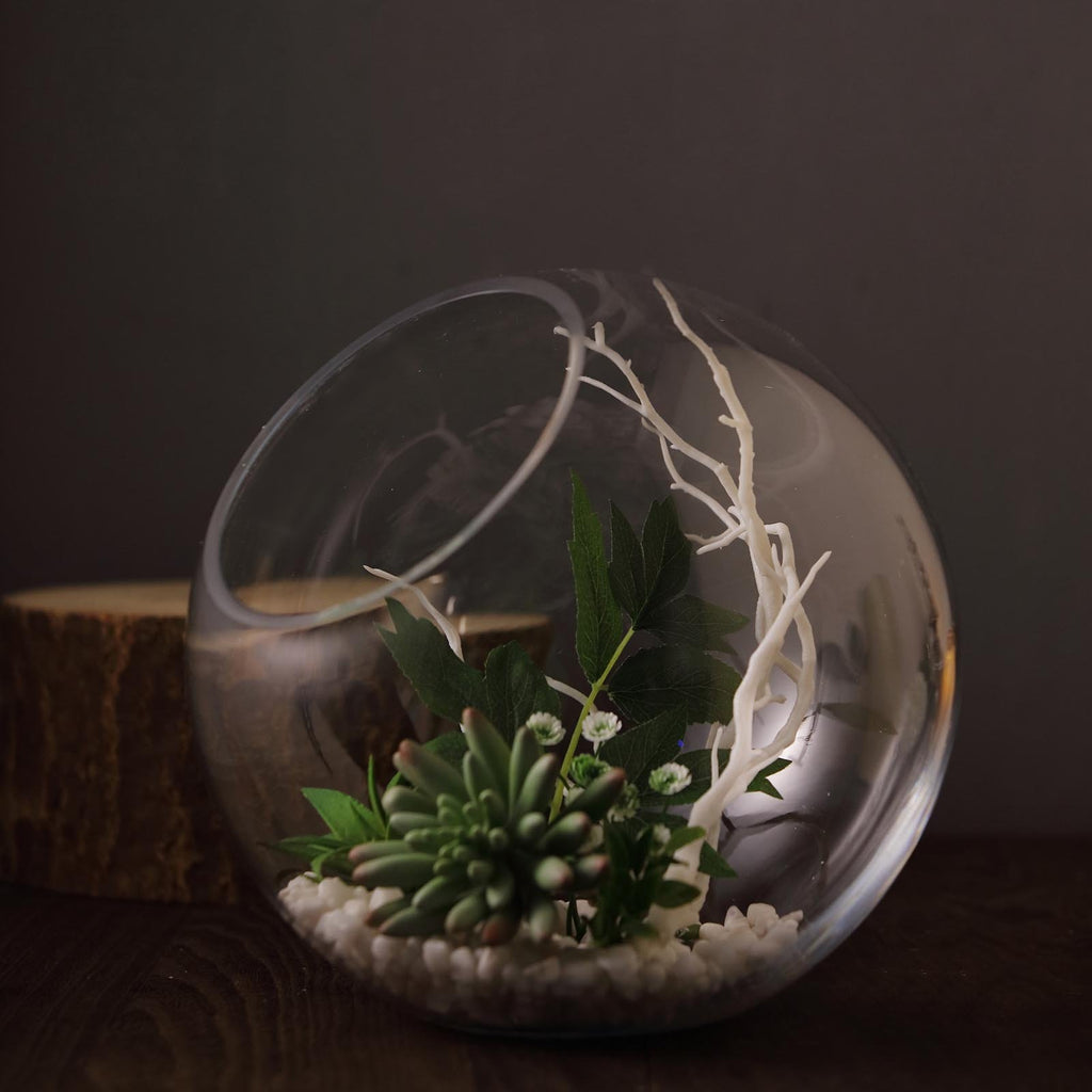 "9"" Slant Cut Round Glass Vase 