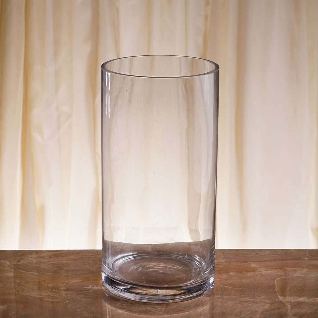 "12 Pack | 10"" Heavy Duty Cylinder Flower Glass Vase Candle Holder Table Decoration"