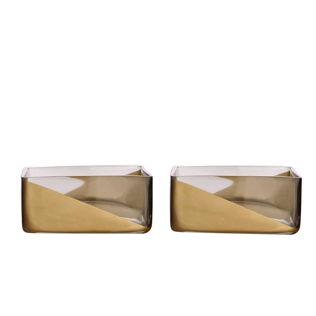 "2 Pack | 3"" Gold Dipped Square Glass Vases 