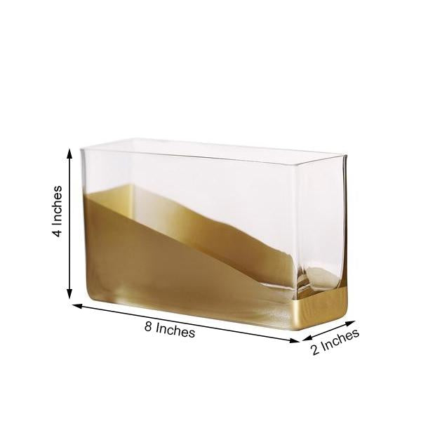"2 Pack | 4"" Gold Dipped Rectangle Glass Vases 