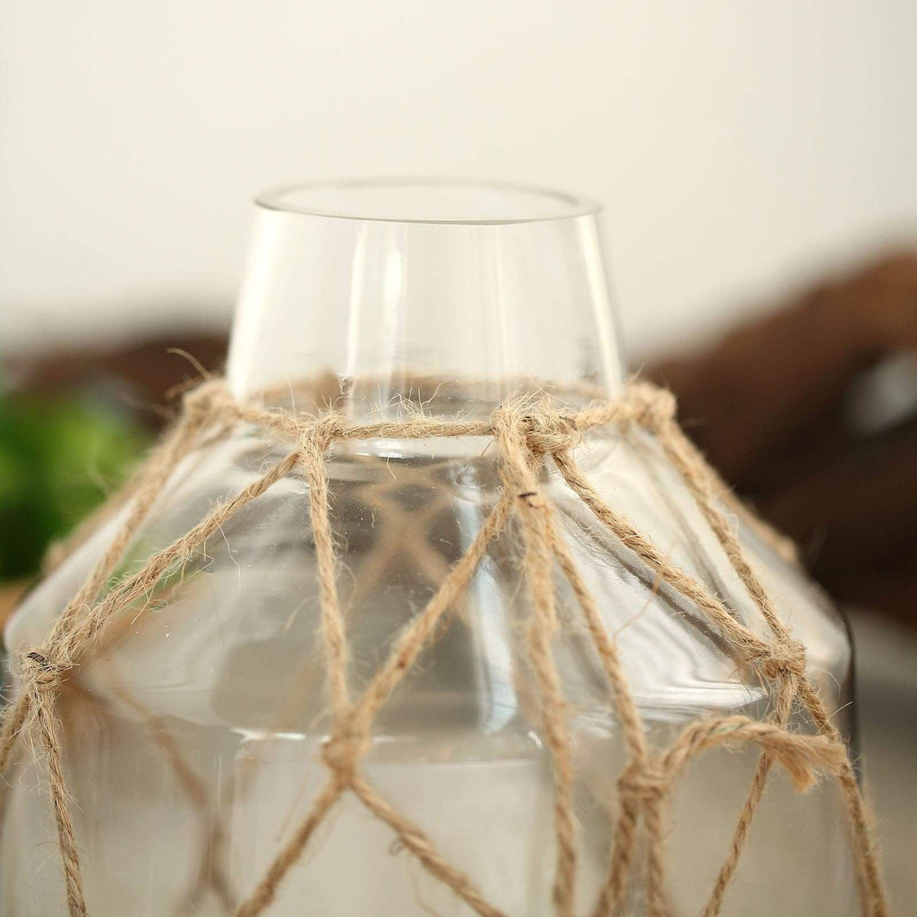 "8"" Tapered Neck Clear Glass Vase 