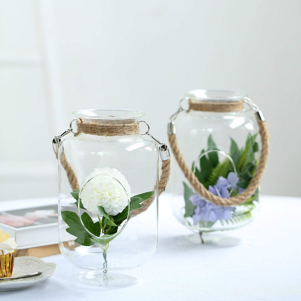 "2 Pack | 16.5"" Clear Glass Vase Jar with Twine Rope Handle 