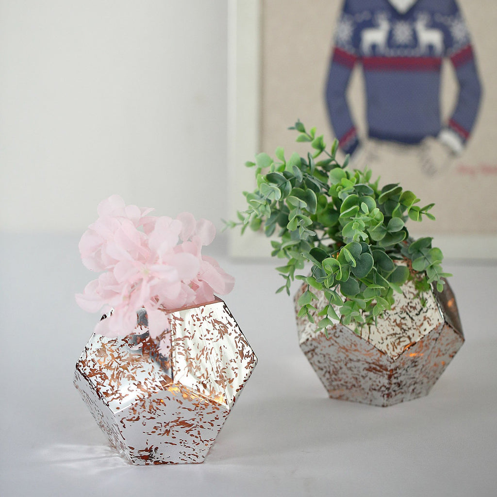 "2 Pack | 5"" Pentagon Geometric Vases 