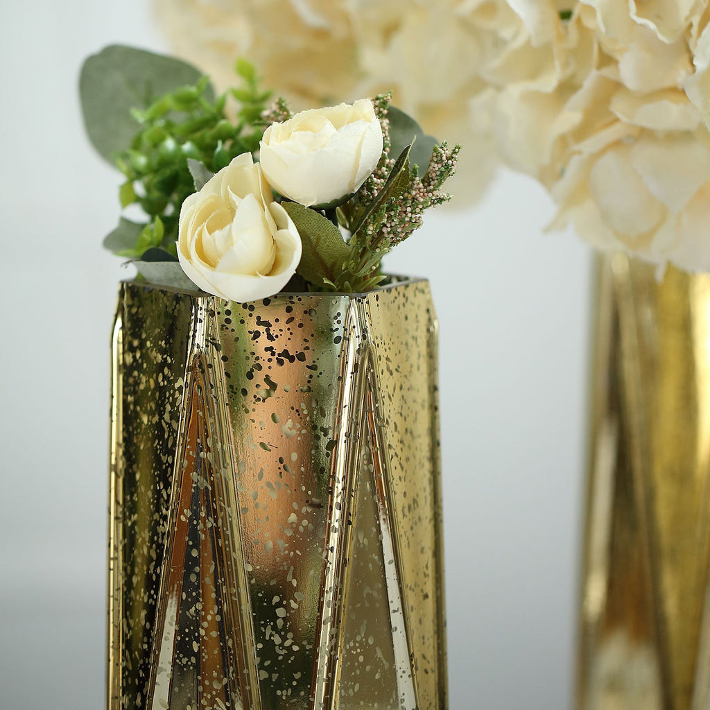 "2 Pack | 11"" Gold Mercury Glass Vases 