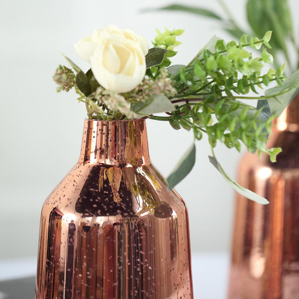 "2 Pack | 9"" Rose Gold Mercury Glass Vases 