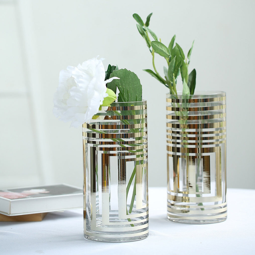 "2 Pack | 10"" Gold Striped Cylinder Vases 
