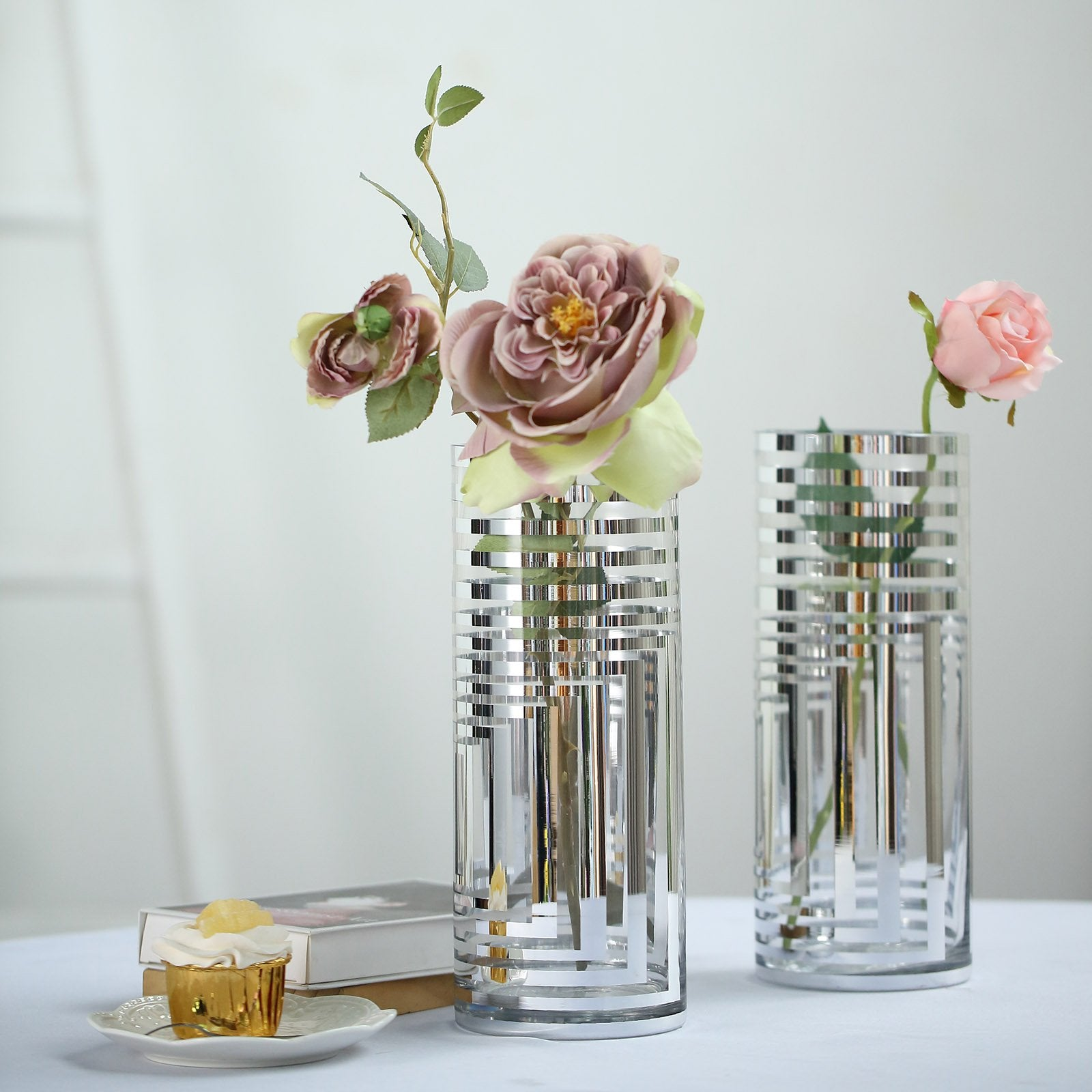 Clear Sequined cylinder centerpiece vases