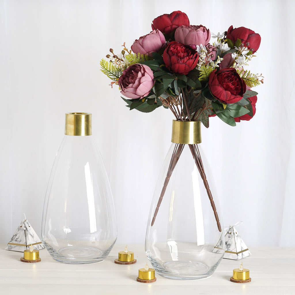 "Pack of 2 | 14"" Clear Glass Flower Vase with Gold Metal Top 