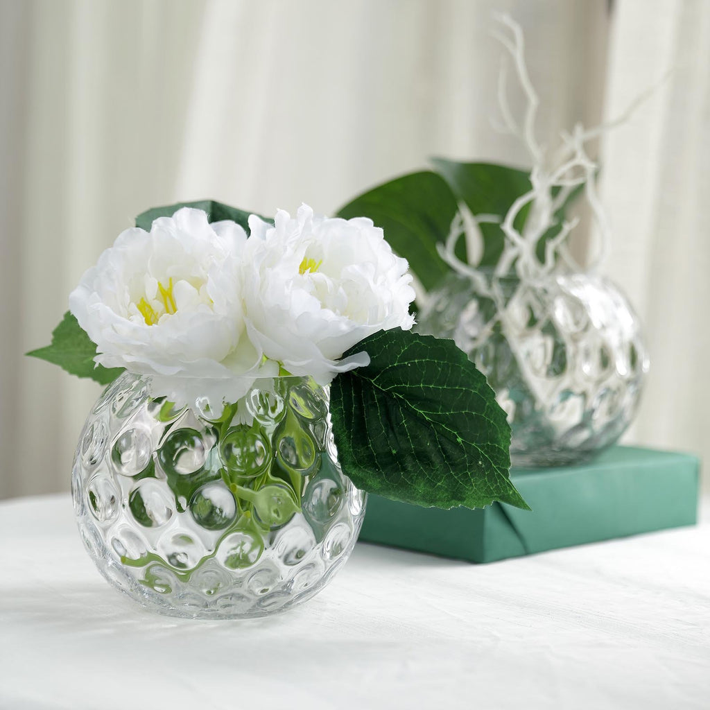 "2 Pack | 5"" Round Hobnail Glass Vases 