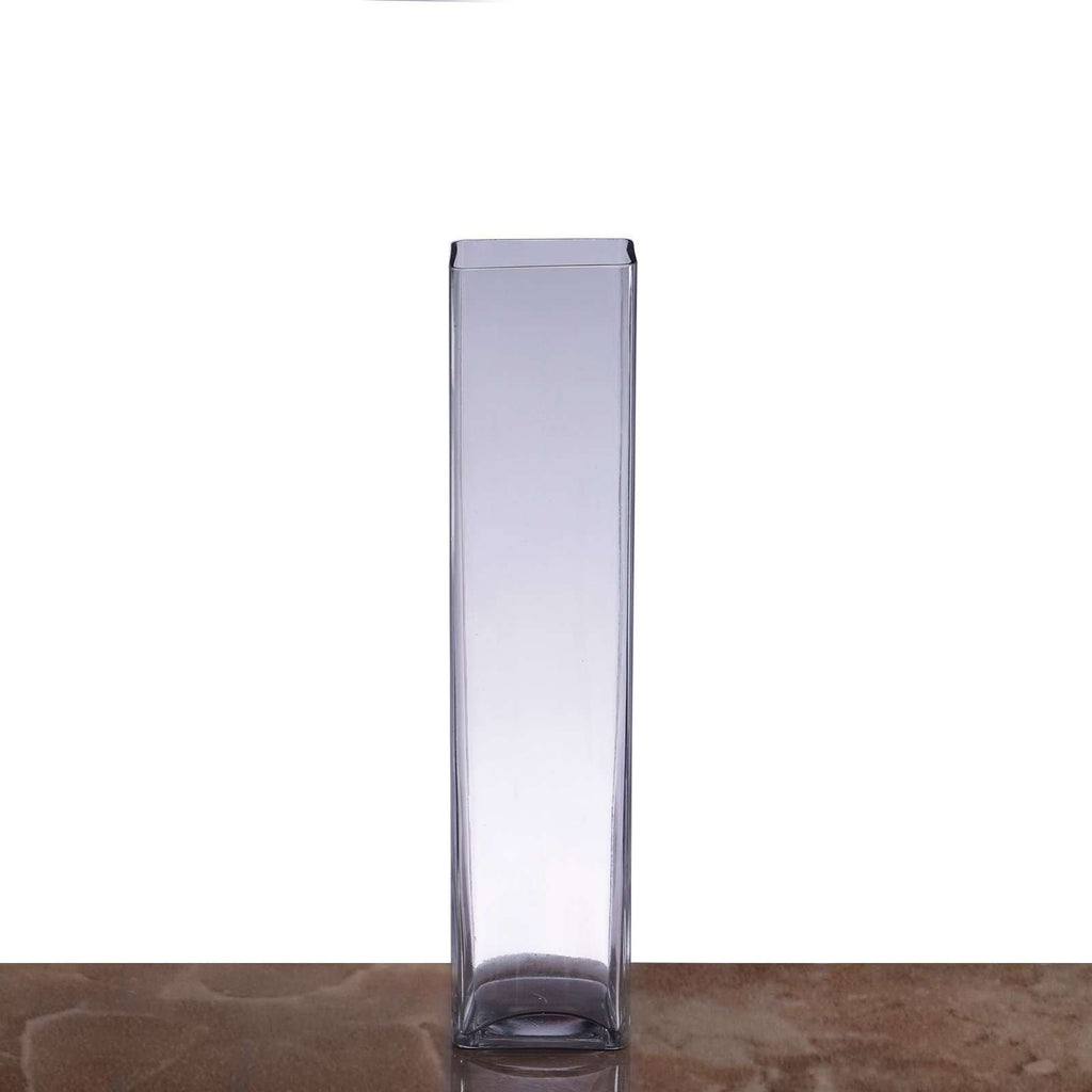 "12 Pack | 14"" Heavy Duty Square Cylinder Flower Glass Vase Candle Holder Table Decor"