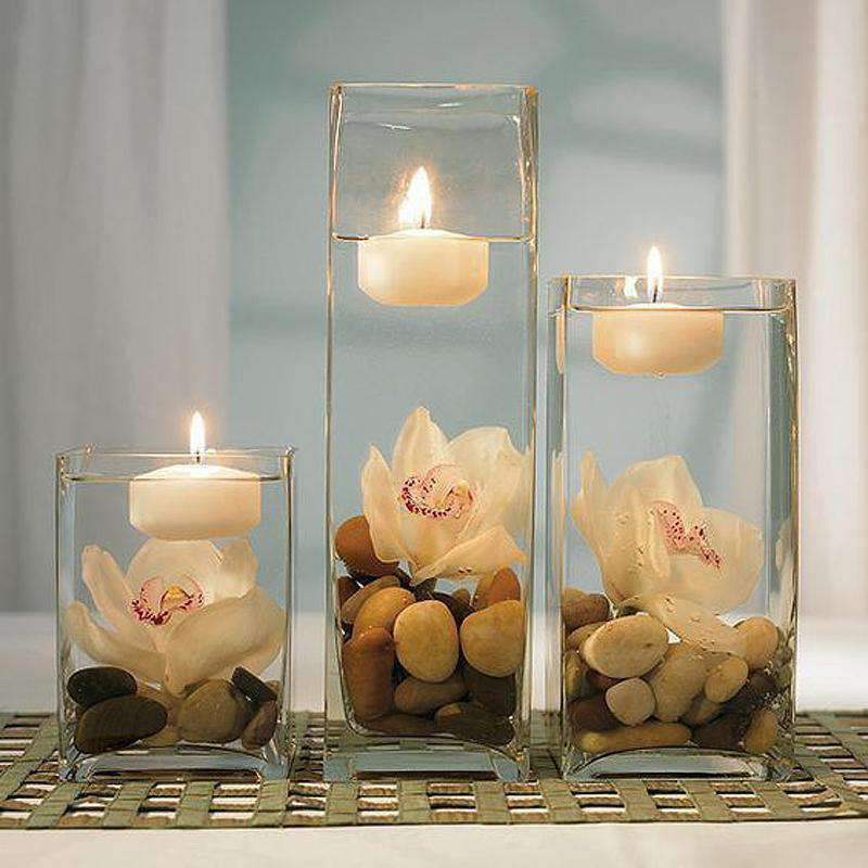 "6 Pack | 18"" Heavy Duty Square Cylinder Flower Glass Vase Candle Holder Table Decor"