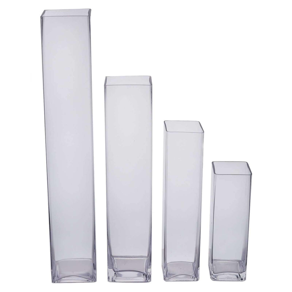 "6 Pack | 24"" Heavy Duty Square Cylinder Flower Glass Vase Candle Holder Table Decor"