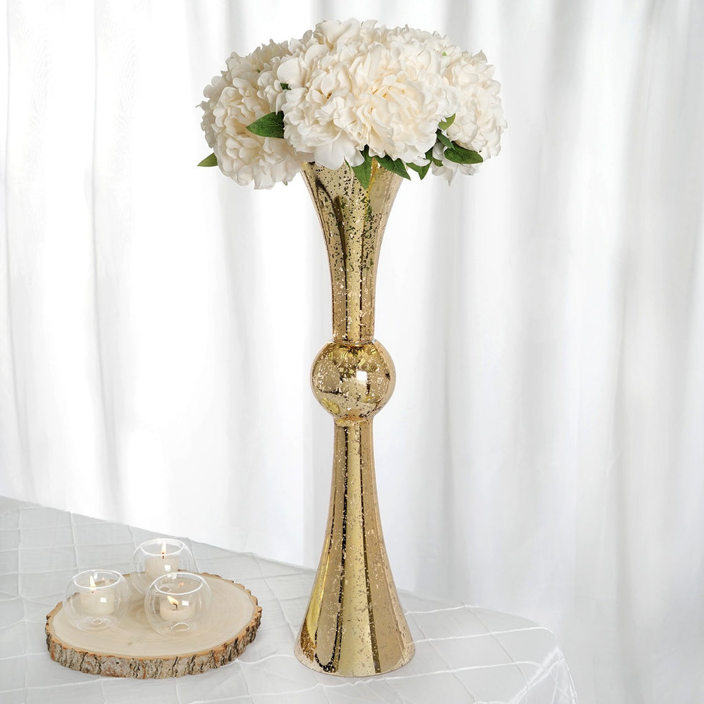 "2 Pack | 24"" Tall Gold Mercury Reversible Latour Trumpet Glass Vases"