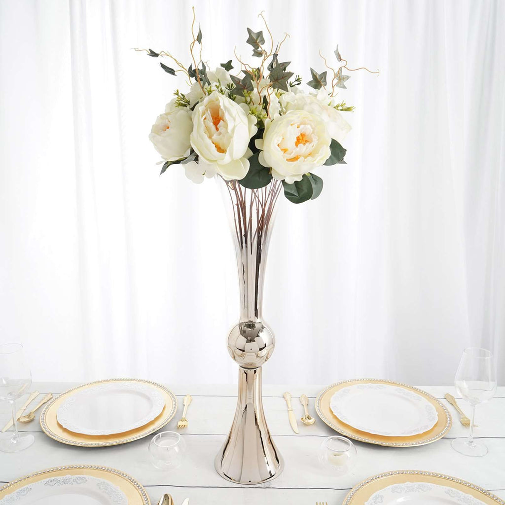 "2 Pack | 24"" Champagne Ombre Glass Reversible Latour Trumpet Vase"