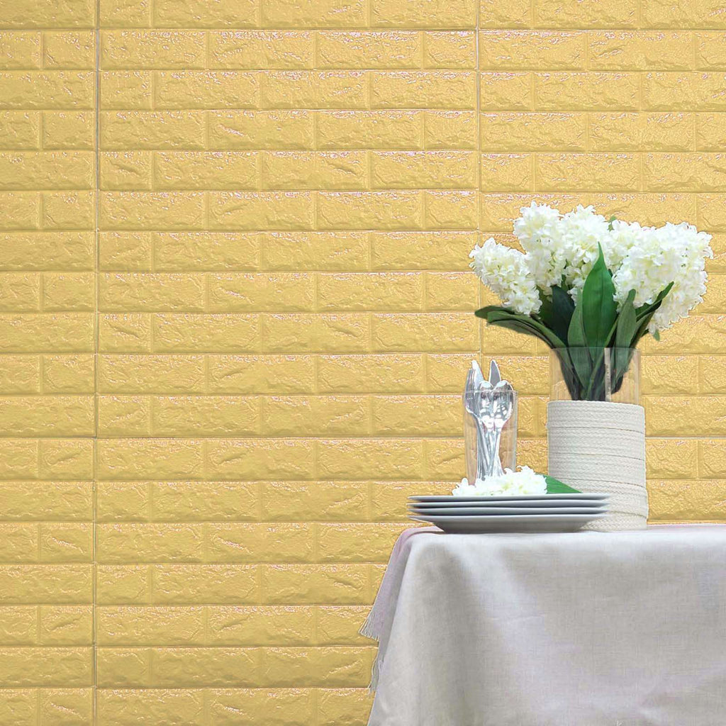10 Pack | 58 Sq.Ft Pastel Yellow Foam Brick Wall Tiles Peel and Stick 3D Wall Panel Room Decor