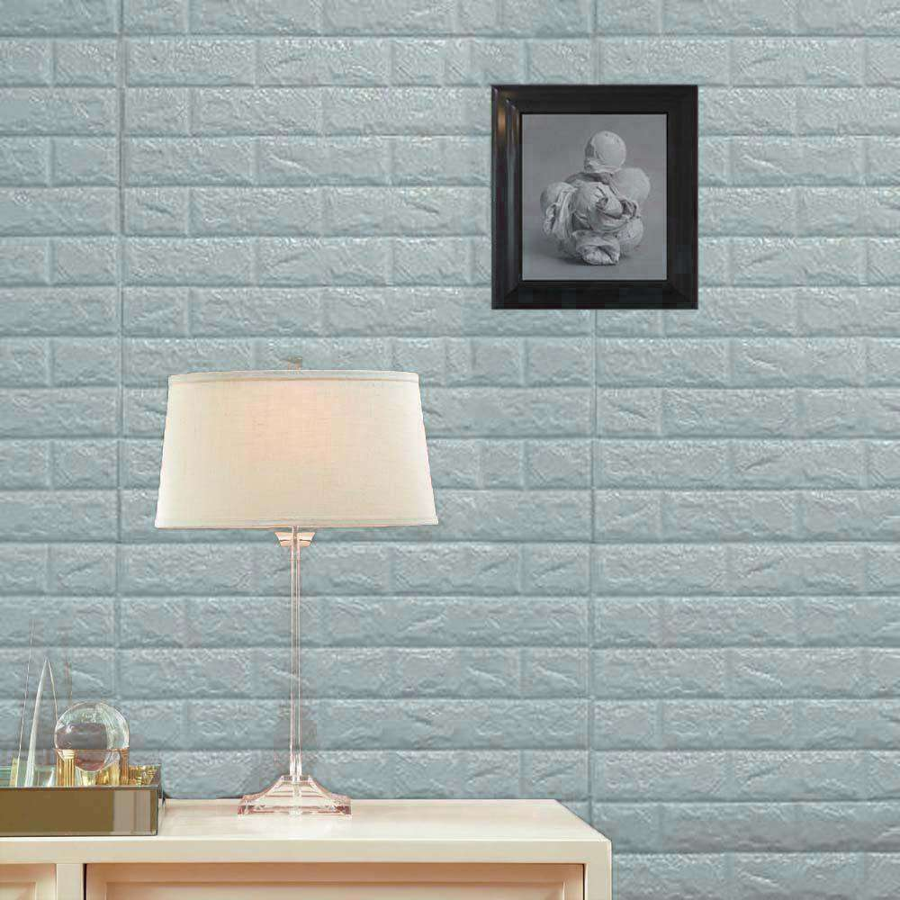 10 Pack | 58 Sq.Ft Baby Blue Foam Brick Wall Tiles Peel and Stick 3D ...