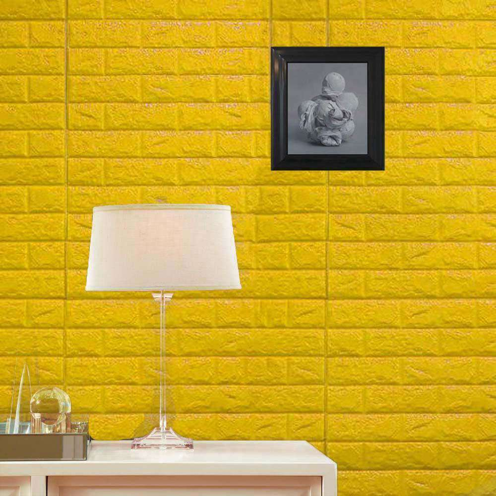 10 Pack | 58 Sq.Ft Yellow Foam Brick Wall Tiles Peel and Stick 3D Wall Panel Room Decor