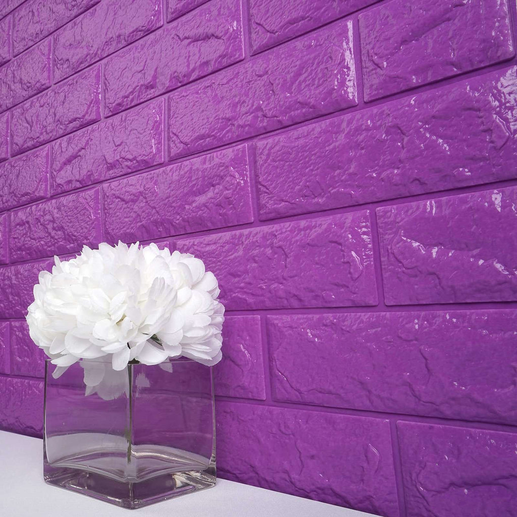 10 Pack | 58 Sq.Ft Purple Foam Brick Wall Tiles Peel and Stick 3D Wall Panel Room Decor