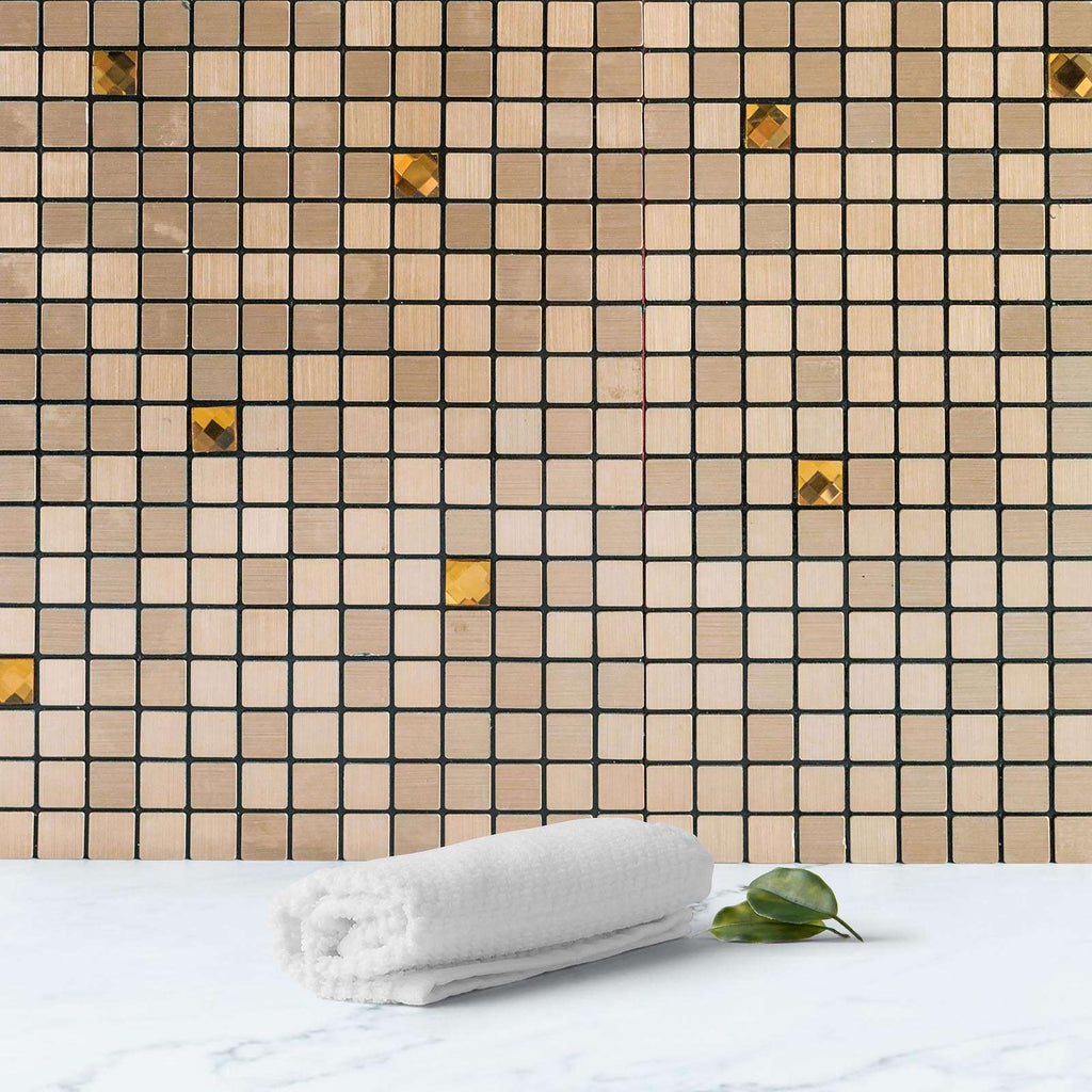 10 Pack | 10 Sq.Ft Mosaic Copper Metal Wall Tiles Peel and Stick Backsplash 3D Wall Panels