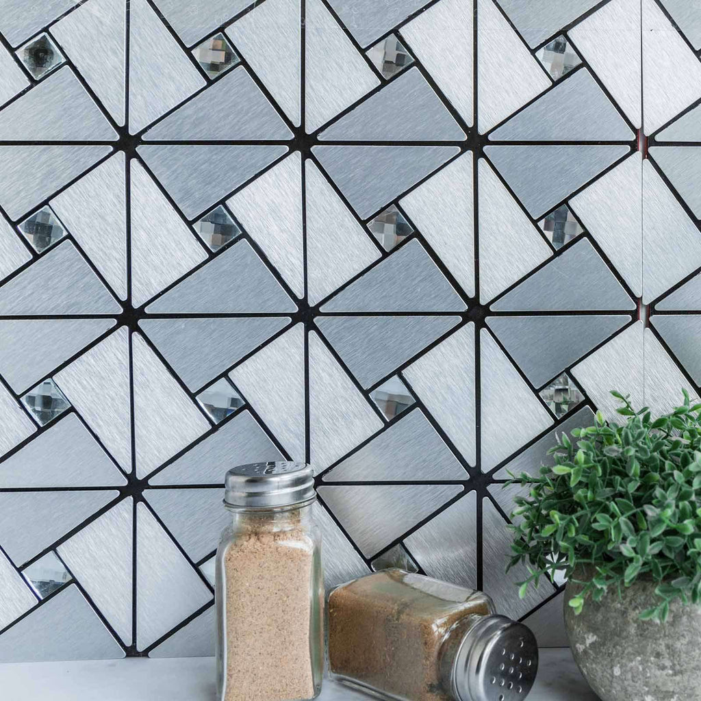 10 Pack | 10 Sq.Ft Silver Metal Wall Tiles Peel and Stick Backsplash Rhinestone Studded 3D Wall Panels