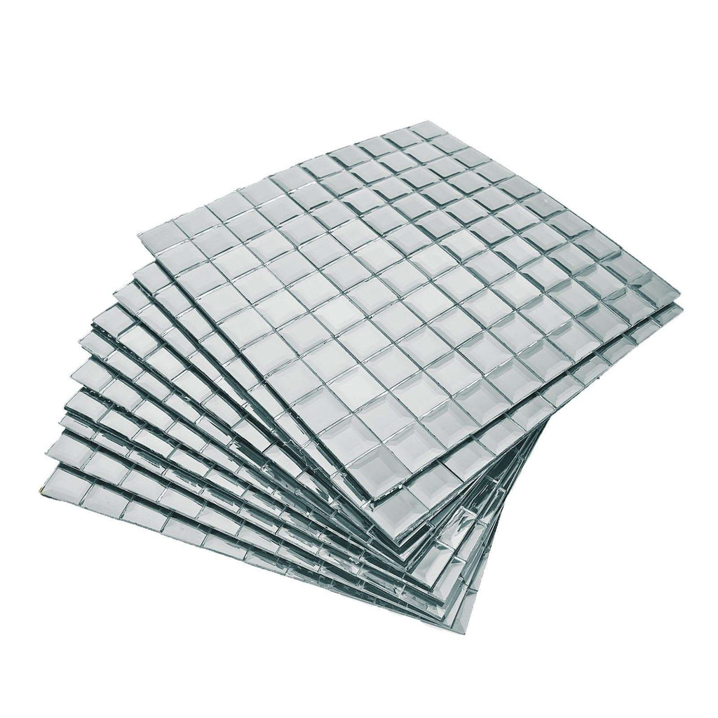 "10 Pack Peel and Stick Self Adhesive Silver Colored Mirror Backdrop Wall Tile - 12""x12"""