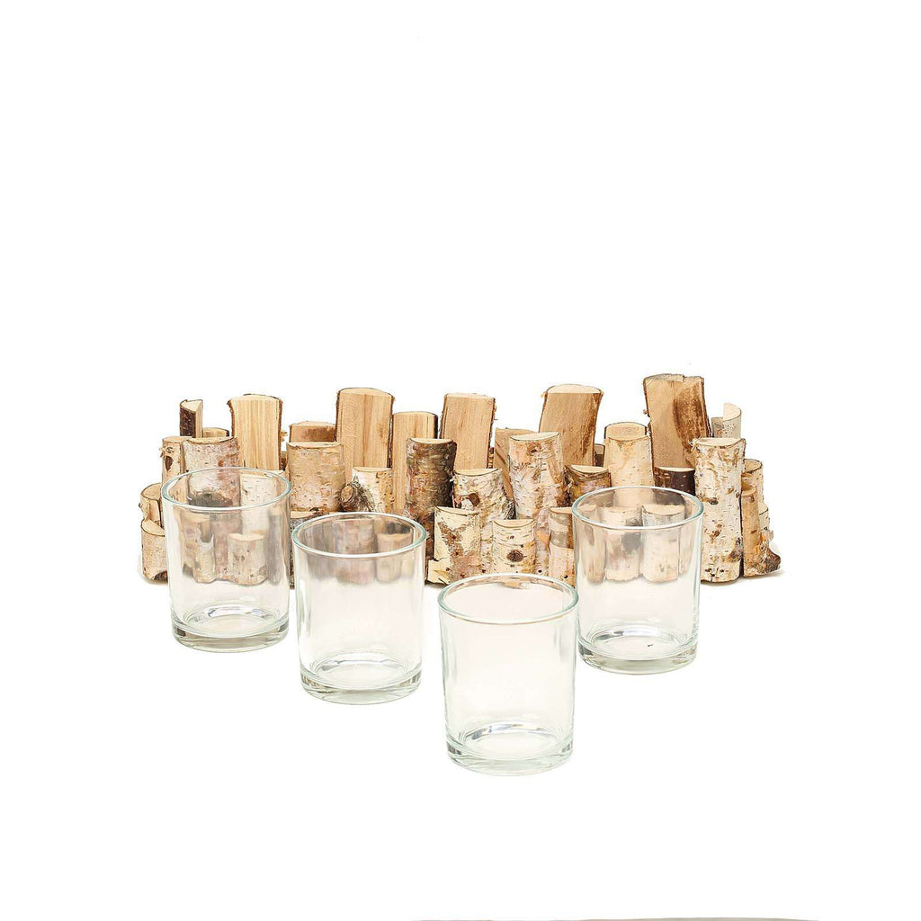 "14"" Natural Birch Wood Hand Crafted Candle Stand with 4 Glass Candle Holders"