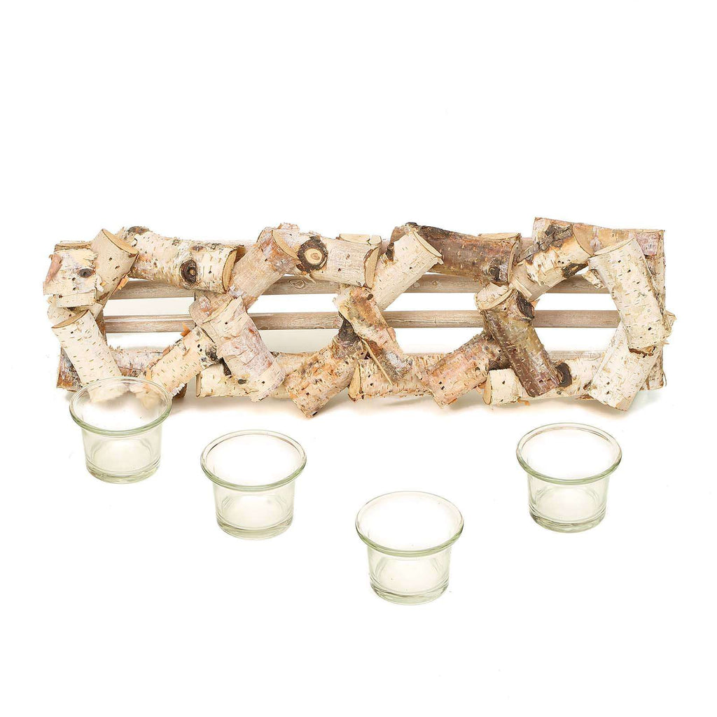 "16"" Natural Birch Wood Hand Crafted Candle Stand with 4 Glass Candle Holders"