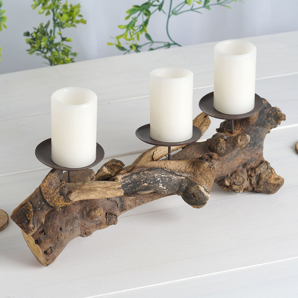 "14"" Natural Wood Hand Crafted Candle Stand with 3 Metal Candle Holders"