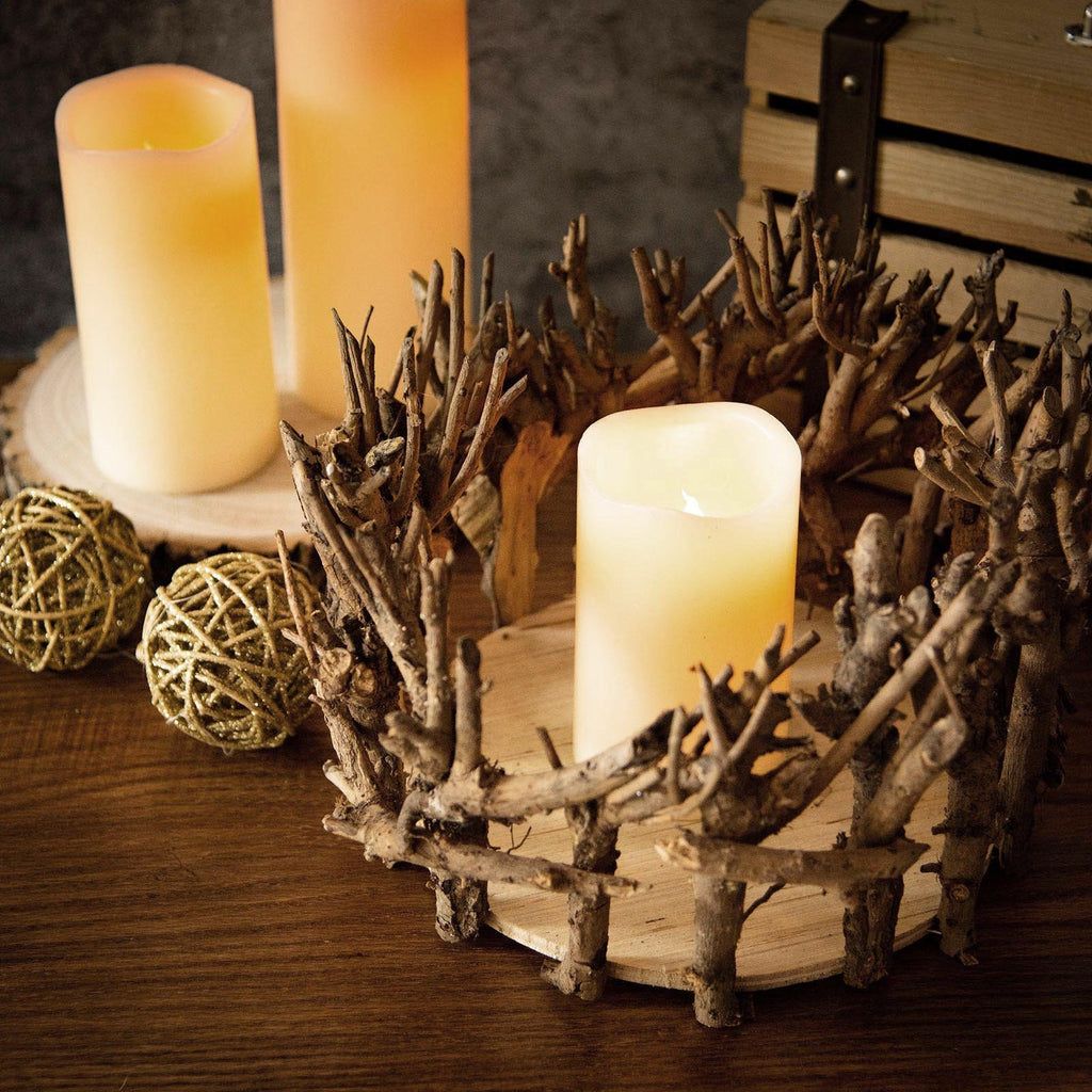 Natural Wood Candle Holder | Wooden Mini Flower Vase | Rustic Wedding Centerpiece