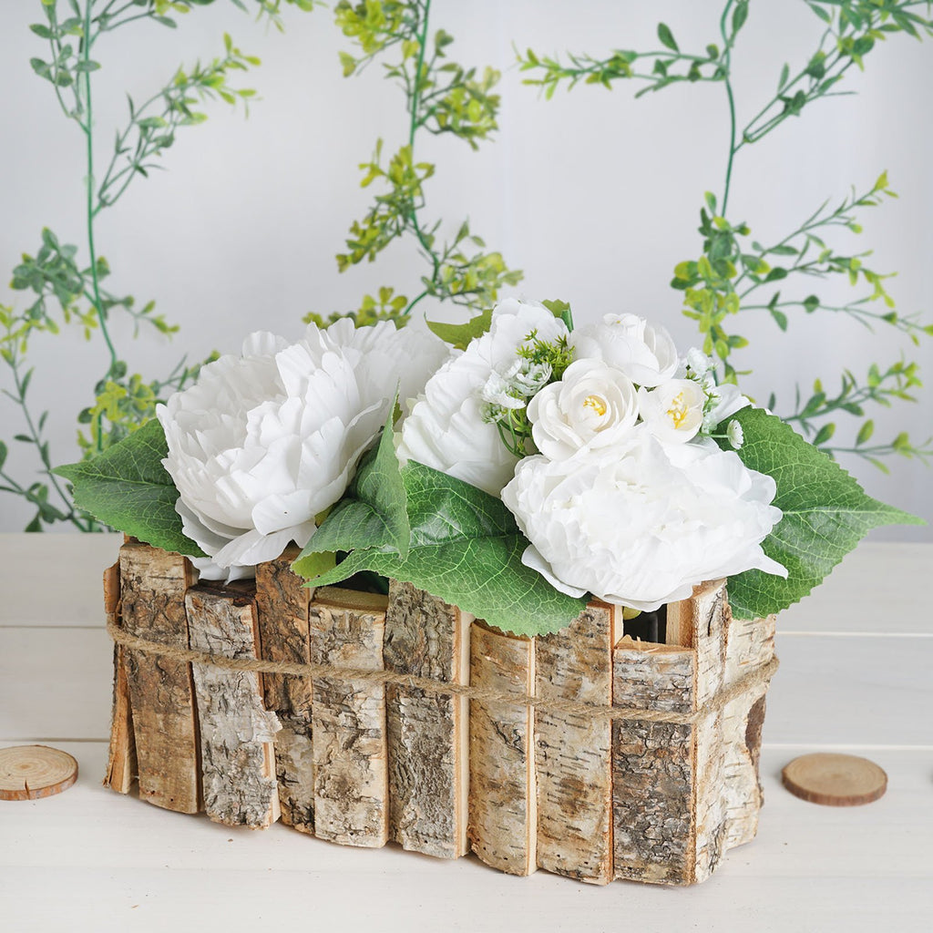 "Natural Wood Candle Holder Flower Vase Rustic Centerpiece with Plastic Lining - 11"" L x 6"" W x 5"" H"