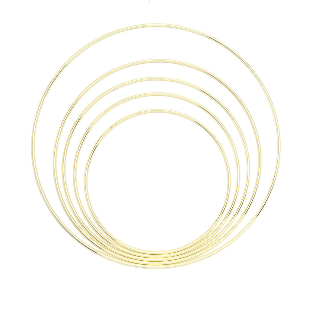 Set of 5 - Gold Metal Hoop Wreath, Floral Hoop