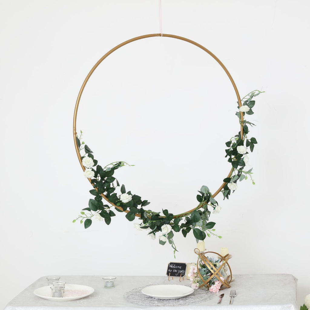 "32"" Gold Heavy Duty Metal Floral Hoop Wreath Hanging Rings"