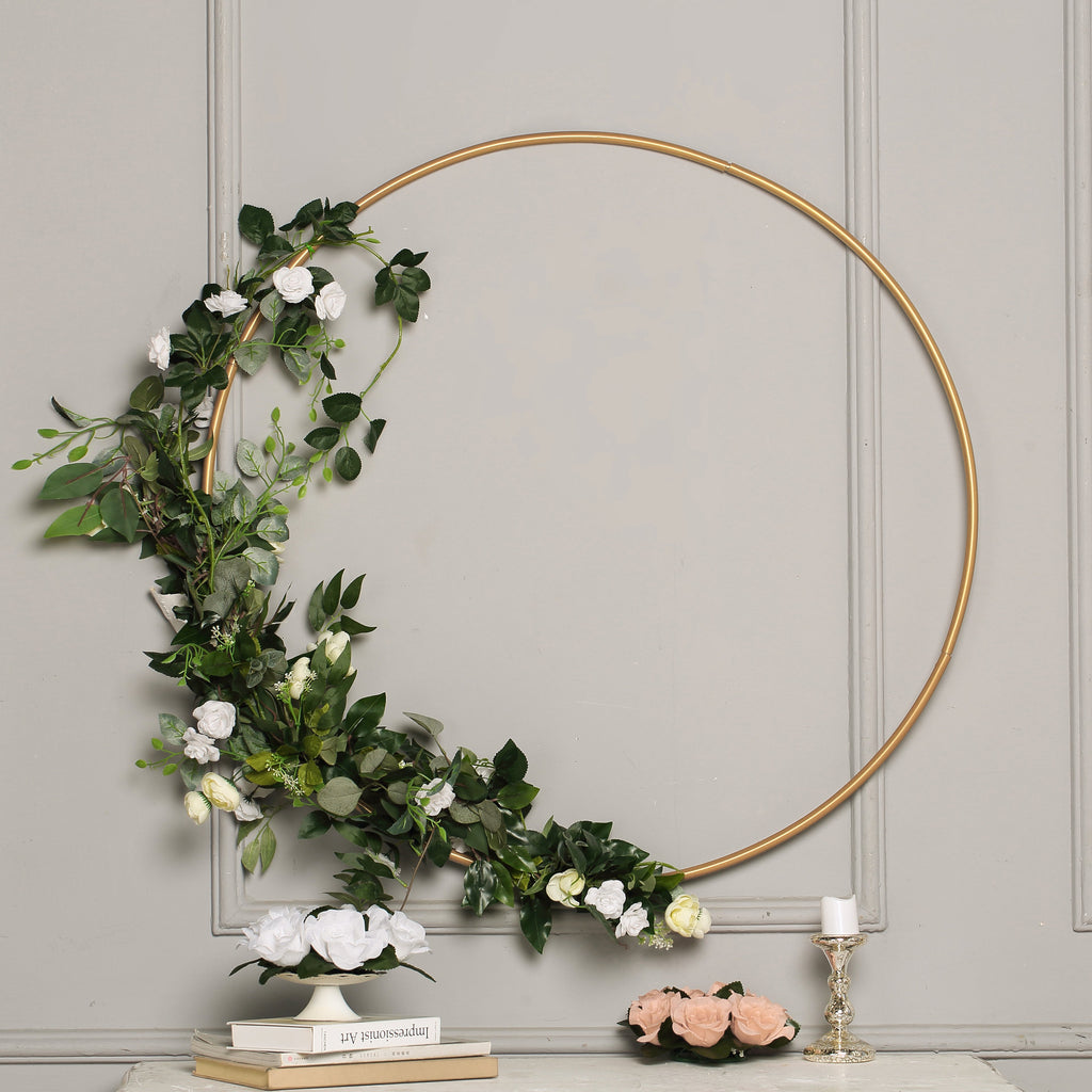 "40"" Gold Heavy Duty Metal Floral Hoop Wreath Hanging Rings"