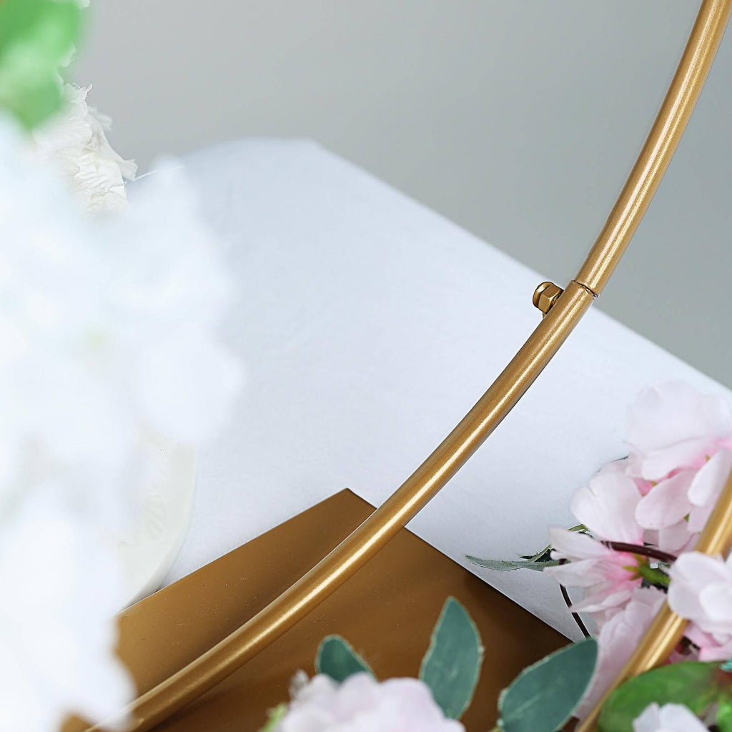 Gold Double Metal Hoop Wedding Centerpiece, Flower Stand