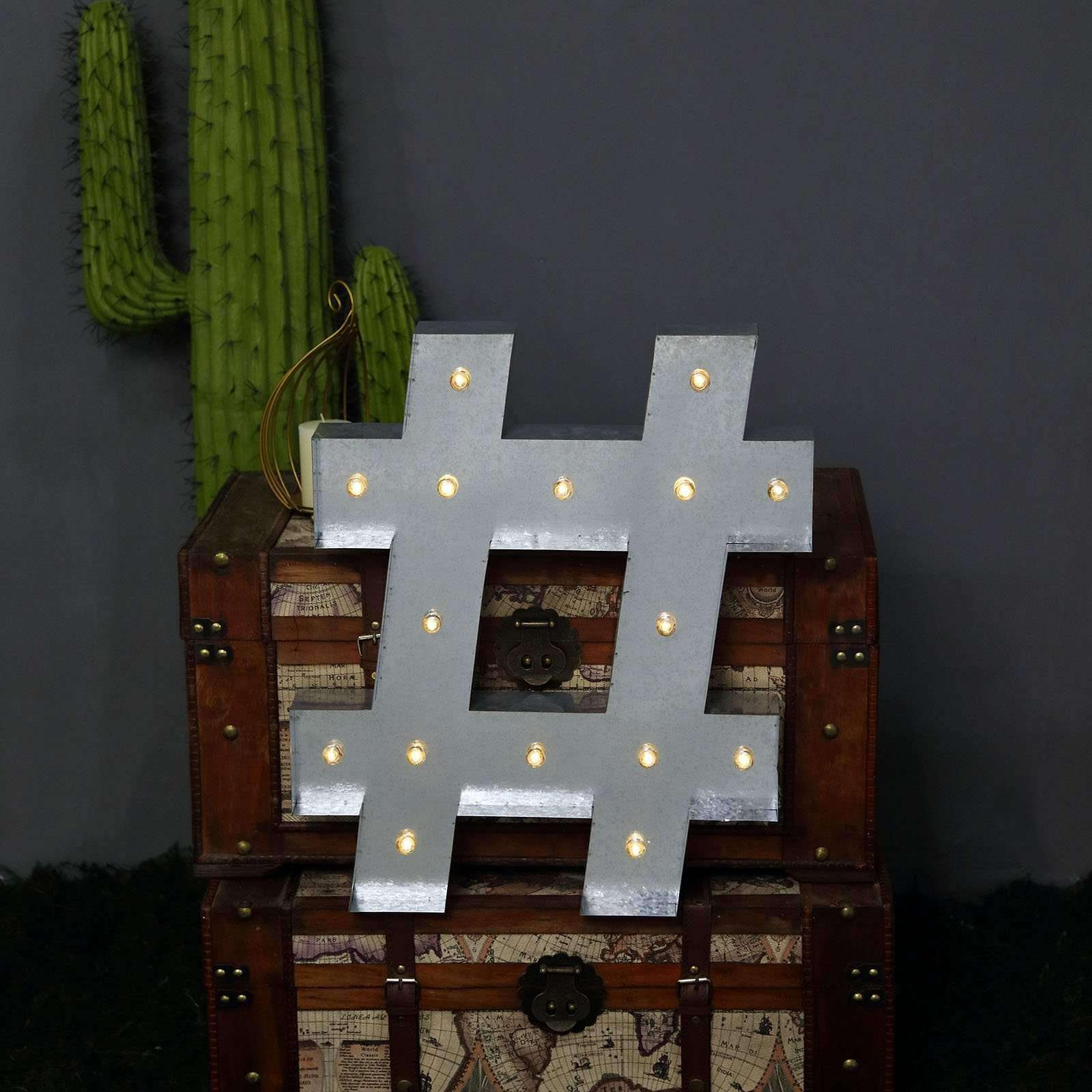 1.7 ft Silver Light Up Symbol @ Metal Marquee Signs Party Backdrop Supplies