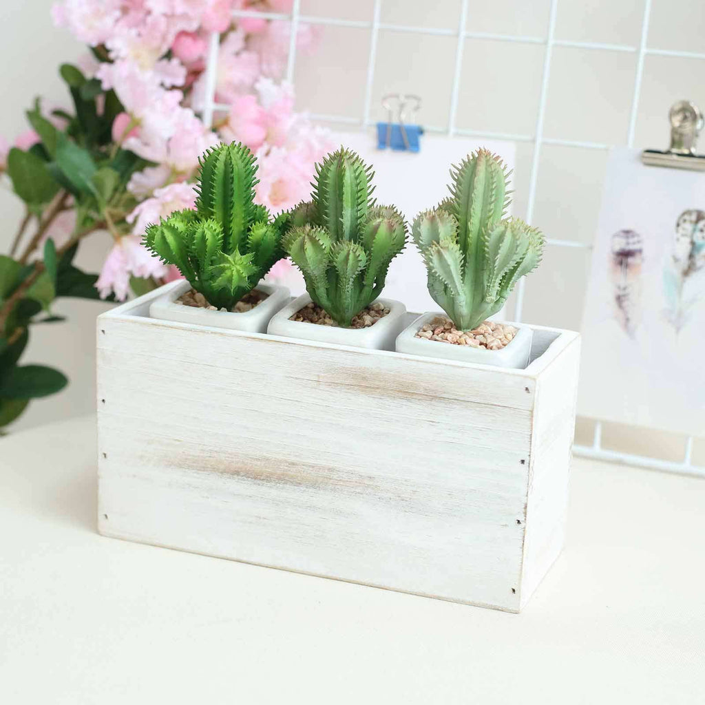 4 Pack | 11x6'' Whitewash Rectangular Wood Planter Box Set With Removable Plastic Liners