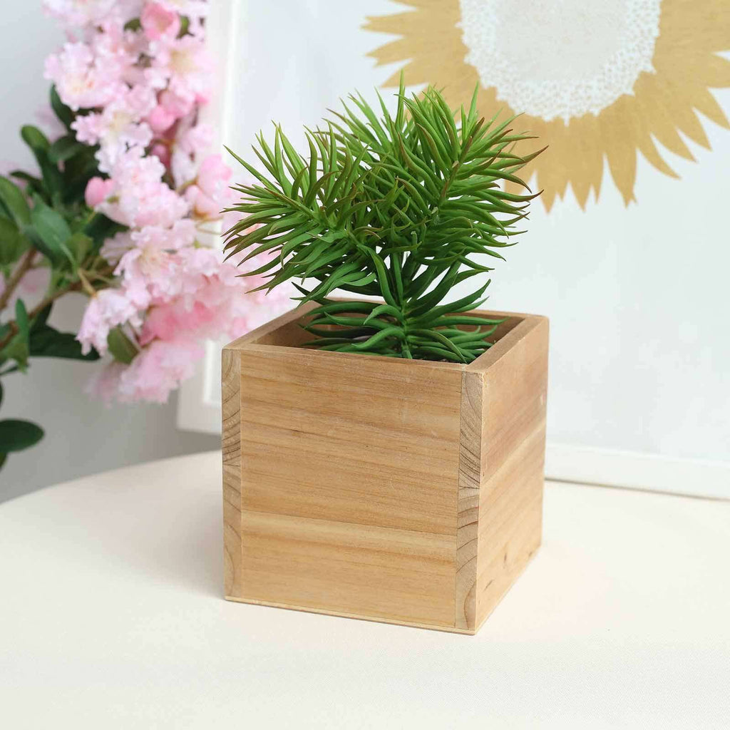 "4 Pack | 5"" Natural Square Wood Planter Box Set With Removable Plastic Liners"