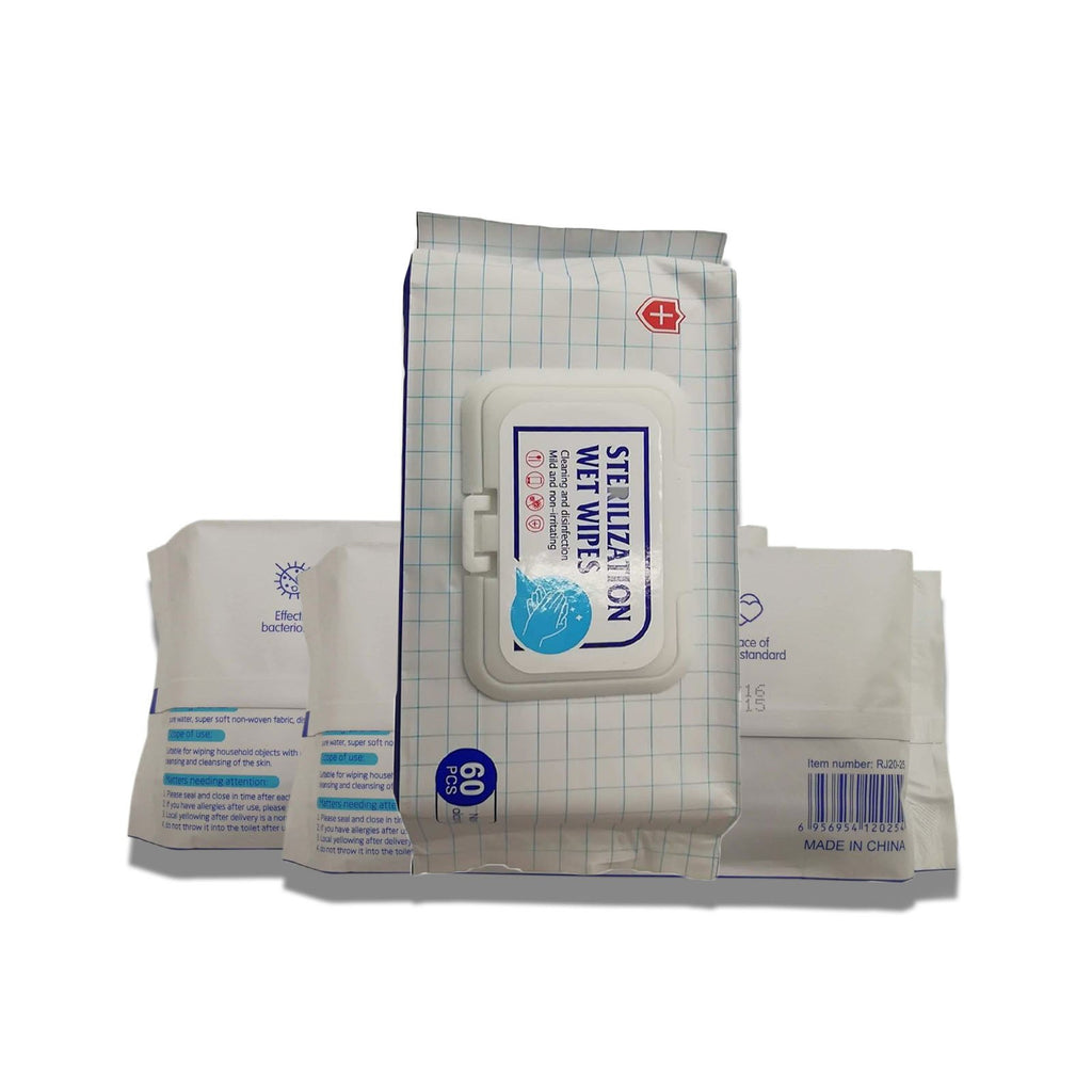 Pack of 60 - Antibacterial Wipes, Non Alcoholic Wet Wipes