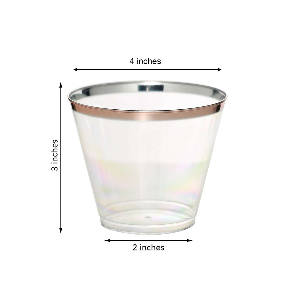 Plastic Cups Disposable | 10 oz | 6 Pack | Rose Gold | Rimmed Design