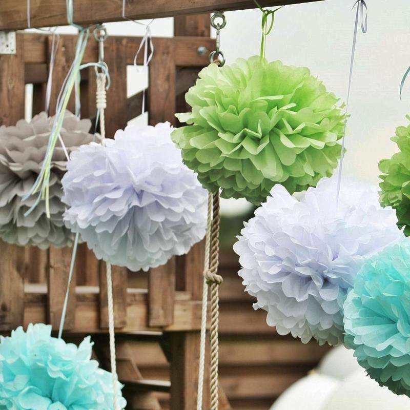 "12"" Fushia Paper Tissue Fluffy Pom Pom Flower Balls For Bridal Shower Wedding Birthday Party - 12 PCS"