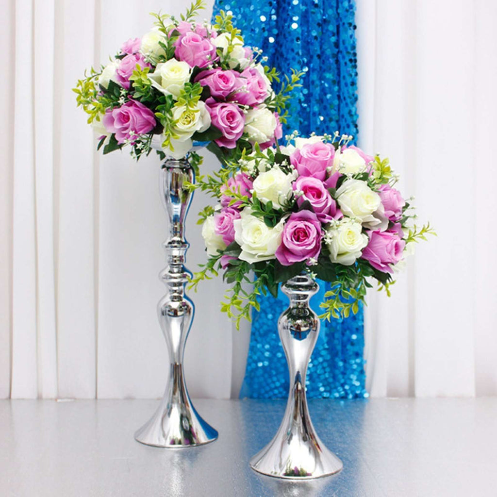 "2 pack 12"" Tall Silver Floral Stand Pillar Candle Holder Flower Feather Ball Centerpiece"