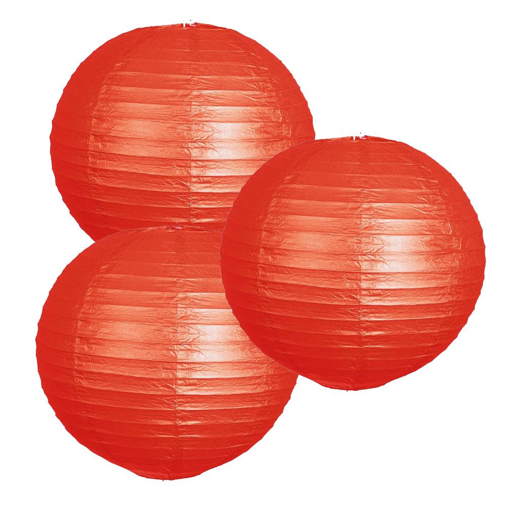 "12 Pack 12"" Red Round Even Ribbing Paper Chinese Lantern Hanging Decoration"