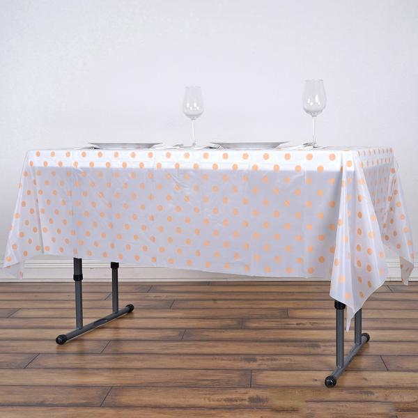 "54""x108"" Spill Proof & Waterproof Wipe Clean Polka Dots tablecloth - White/Blush"