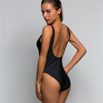Zipper Scoop Back One Piece Swimsuit